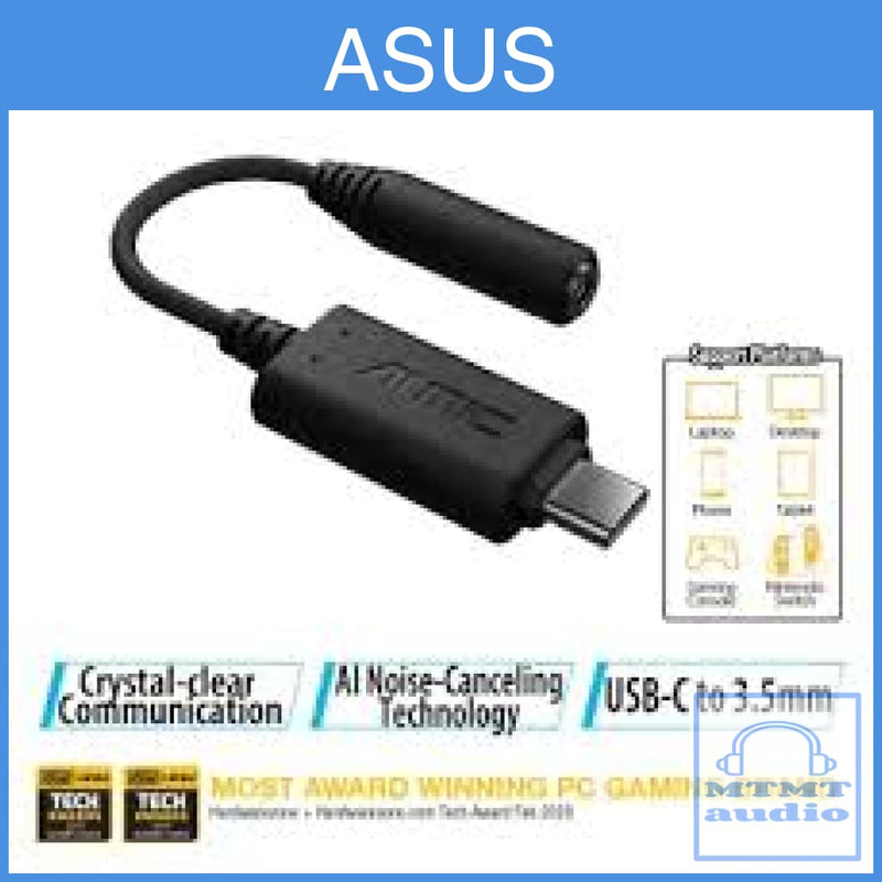 Asus Ai Noise-Canceling Mic Adapter With Usb-C To 3.5Mm Connection Dac Quality Sound