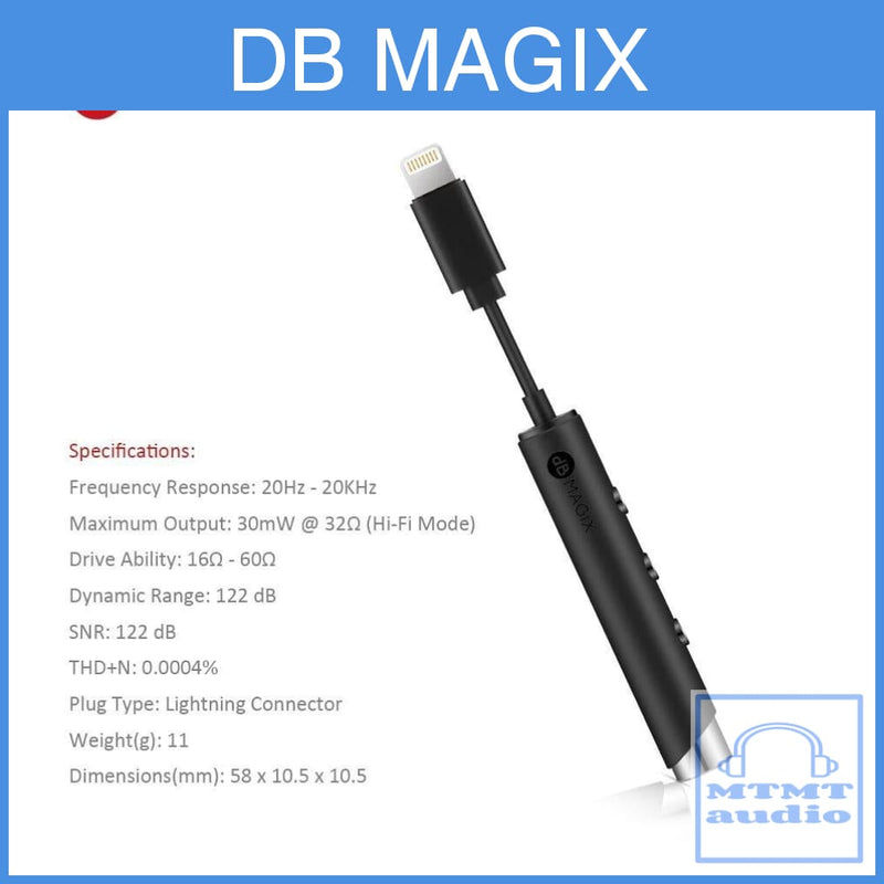 Db Magix Ac3 Lightning To 3.5Mm Headphone Dac Amplifier For Iphone X 8 Iphone 7