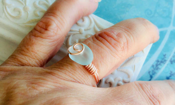 Sea Glass and Rose Gold Ring Tutorial