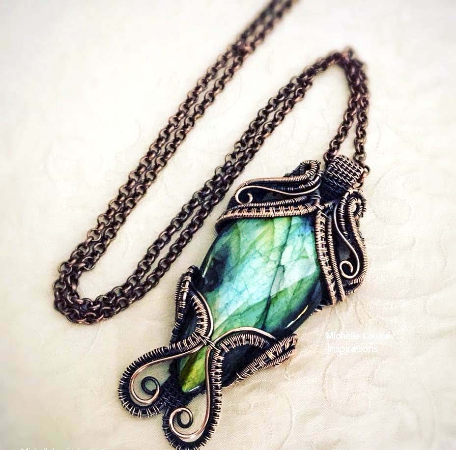 Labaradite copper wire wrapped pendant necklace - Michelle Louise inspirations