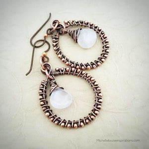 Rose Quartz wire wrapped copper hoop earrings Rose Quartz wire wrapped EarringsMichelle Louise Inspirations