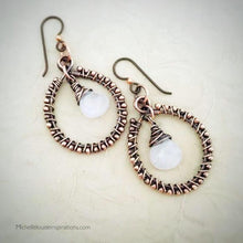 Load image into Gallery viewer, Rose Quartz Wire Wrap Copper Hoop Earrings Copper Wire Wrapped Earring Michelle Louise Inspirations