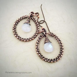 Rose Quartz Wire Wrap Copper Hoop Earrings Copper Wire Wrapped Earring Michelle Louise Inspirations