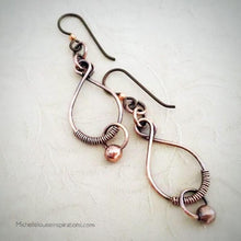 Load image into Gallery viewer, Copper Wire Earrings Copper Wire Wrapped Earrings Michelle Louise Inspirations
