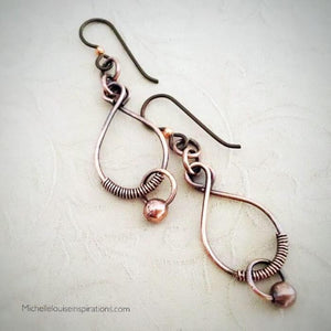 Copper Wire Earrings Copper Wire Wrapped Earrings Michelle Louise Inspirations