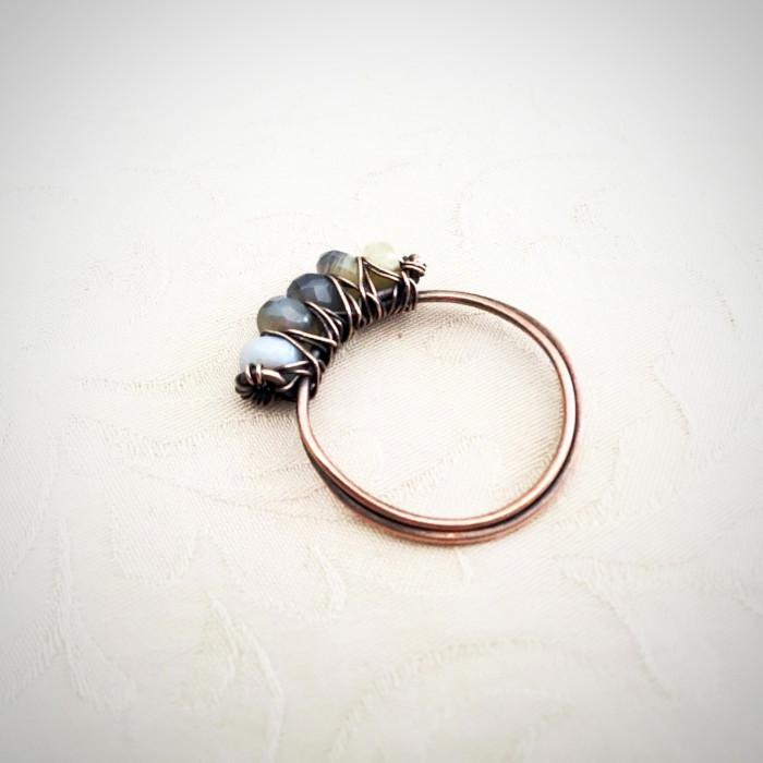 Natural Stone Copper Wire Wrap Ring Natural Stone Wire Ring Michelle Louise Inspirations
