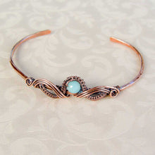 Load image into Gallery viewer, Natural Gemstone Copper Wire Wrapped Bracelet Wire Wrapped Copper Bracelet Cuff Michelle Louise Inspirations