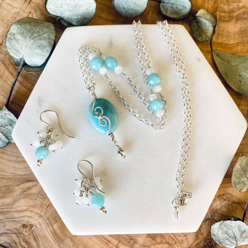 Gift Set | Amazonite Moonstone necklace earring set .925 Sterling Silver Wire Wrap Pendant Necklace Michelle Louise Inspirations