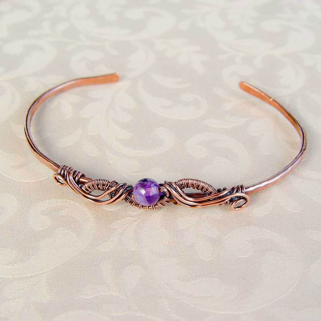 Natural Gemstone Copper Wire Wrapped Bracelet Wire Wrapped Copper Bracelet Cuff Michelle Louise Inspirations