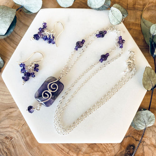 Gift Set | Amethyst necklace earring set .925 Sterling Silver Wire Wrap Pendant Necklace Michelle Louise Inspirations
