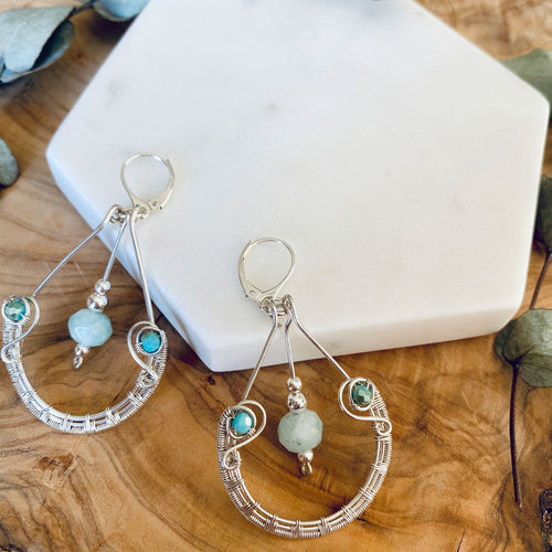 Aquamarine Sterling Silver Wire Hoop Earrings Sterling Silver Wire Hoop Ear Hooks Michelle Louise Inspirations