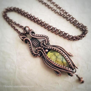 Golden Green Labradorite gemstone necklace Wire Wrap Pendant Michelle Louise Inspirations