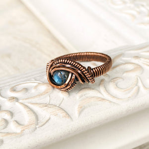 Mesmerizing Blue Labradorite Ring Size 7 US Natural Stone Copper Wire Wrap Ring Michelle Louise Inspirations
