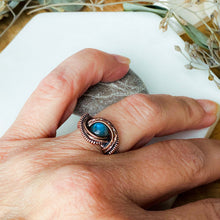 Load image into Gallery viewer, Mesmerizing Blue Labradorite Ring Size 7 US Natural Stone Copper Wire Wrap Ring Michelle Louise Inspirations