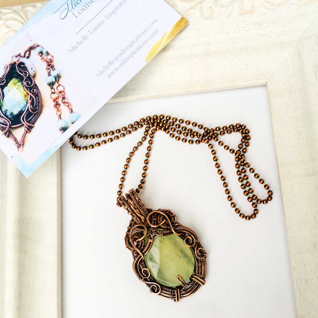 Green Jade Copper Wire Woven Pendant Necklace Copper Wire Wrap Pendant Necklace Michelle Louise Inspirations