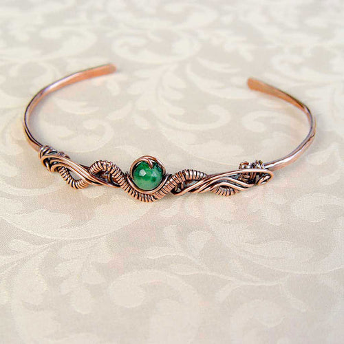 Green Jade Stone Copper Wire Wrapped Bracelet Wire Wrapped Copper Bracelet Cuff Michelle Louise Inspirations