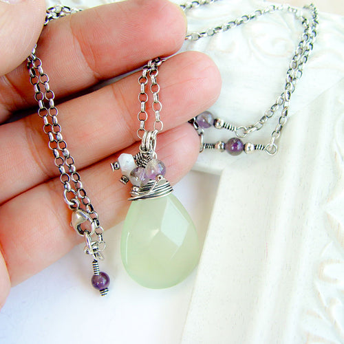 Green Jade Sterling Silver Pendant Necklace .925 Silver Wire Wrap Pendant Necklace Michelle Louise Inspirations