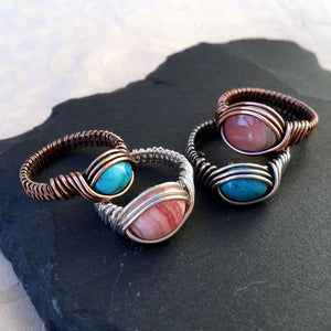 Natural Stone Sterling Silver Wire Wrapped  Ring - Michelle Louise Inspirations