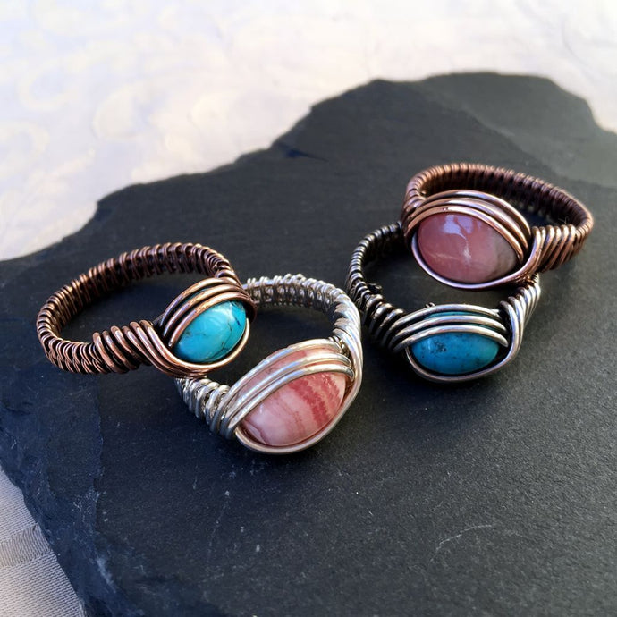 Natural Stone Sterling Silver Wire Wrapped  Ring Natural Stone RingMichelle Louise Inspirations