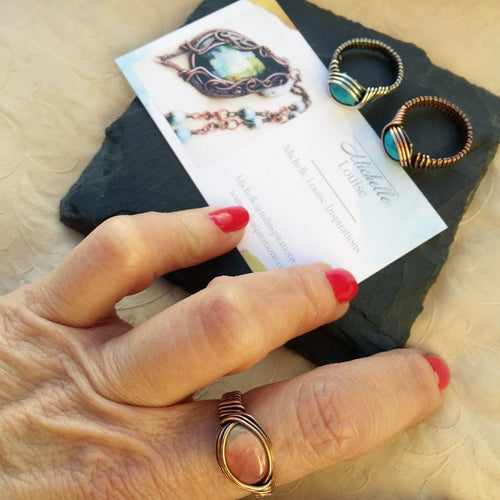 Natural Stone Copper Wire Wrapped Rings Natural Stone Copper Wire Wrap Ring Michelle Louise Inspirations