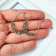 Load image into Gallery viewer, Labradorite Stainless Steel Wire Hoop Ear Hooks Stainless Steel Wire Hoop Ear Hooks Michelle Louise Inspirations