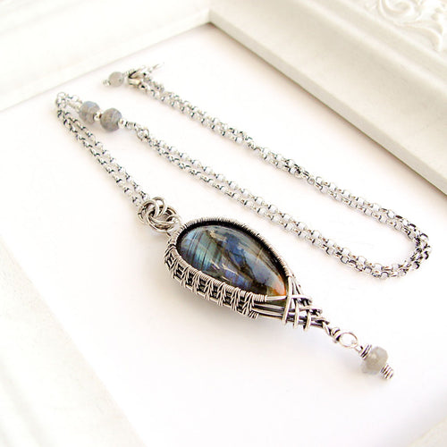 Golden Blue Labradorite Sterling Silver Pendant Necklace Sterling Silver Wire Wrapped Pendant Necklace Michelle Louise Inspirations
