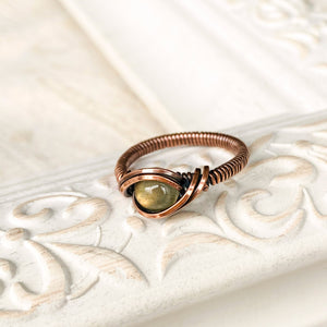 Labradorite Ring Size 6 US to Size 7.5 US Natural Stone Copper Wire Wrap Ring Michelle Louise Inspirations