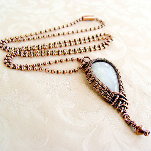 Moonstone Teardrop Wire Wrapped Copper Pendant Necklace Copper Wire Wrapped Pendant Necklace Michelle Louise Inspirations