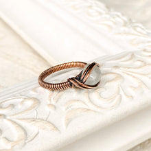 Load image into Gallery viewer, Moonstone Birthstone Ring Size 7 US Natural Stone Copper Wire Wrap Ring Michelle Louise Inspirations