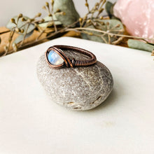 Load image into Gallery viewer, Moonstone Ring Size 7 US Natural Stone Copper Wire Wrap Ring Michelle Louise Inspirations