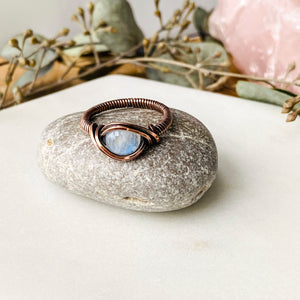 Moonstone Ring Size 7 US Natural Stone Copper Wire Wrap Ring Michelle Louise Inspirations