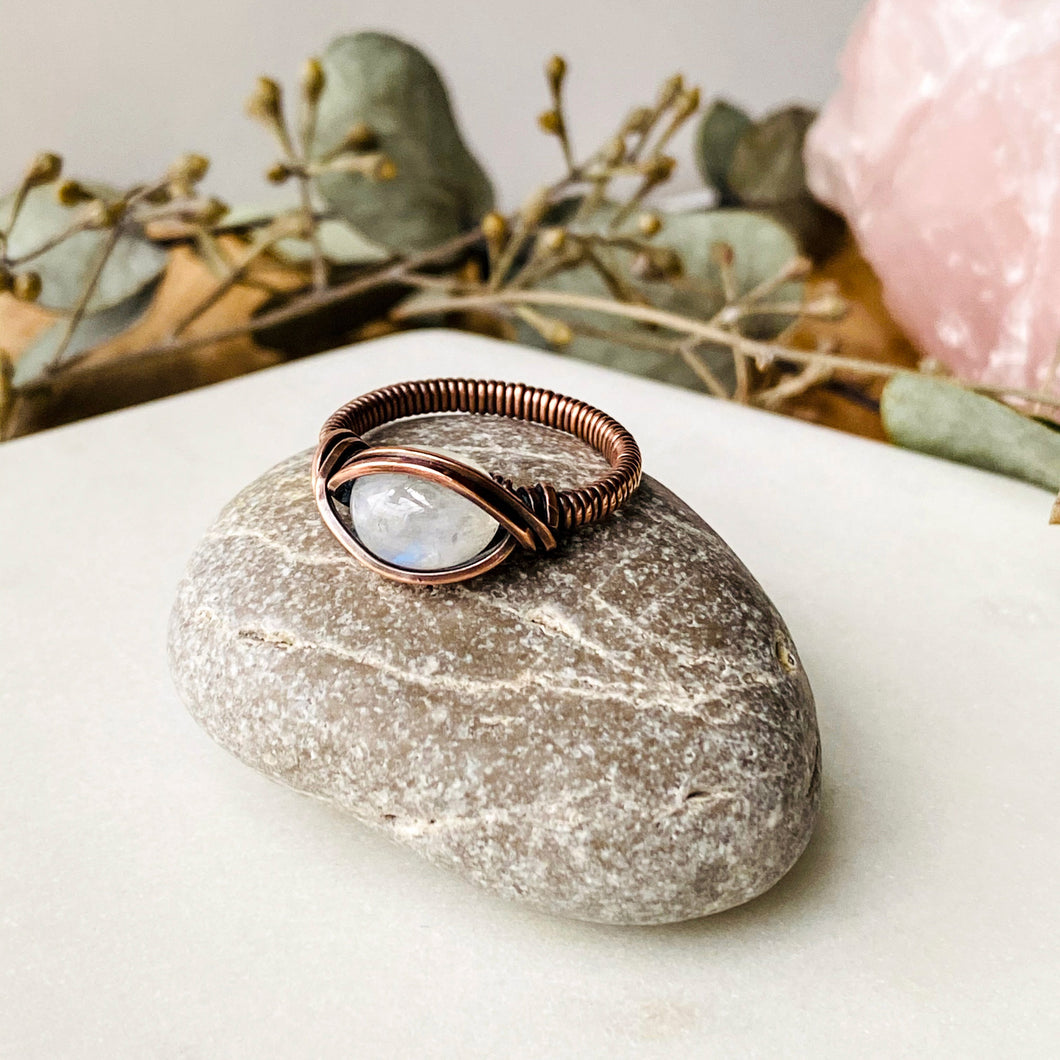 Moonstone Birthstone Ring Size 7 US Natural Stone Copper Wire Wrap Ring Michelle Louise Inspirations