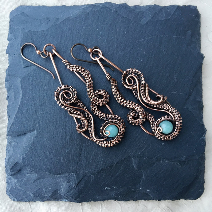 Ocean Wave Wire Wrapped Amazonite Earrings Sea Shell wire wrapped EarringsMichelle Louise Inspirations