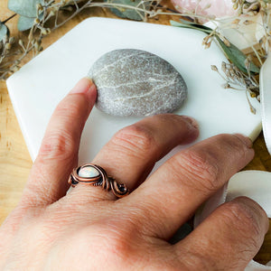 White Opal Ring Size 7 US Natural Stone Sterling Silver Wire Wrap Ring Michelle Louise Inspirations