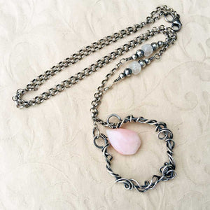 Pink Opal Organic Wire Wrapped Pendant Necklace Sterling Silver Wire Wrapped Pendant Necklace Michelle Louise Inspirations