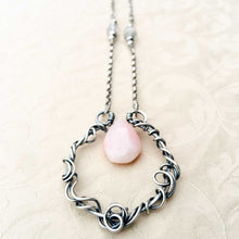 Load image into Gallery viewer, Pink Opal Organic Wire Wrapped Pendant Necklace Sterling Silver Wire Wrapped Pendant Necklace Michelle Louise Inspirations