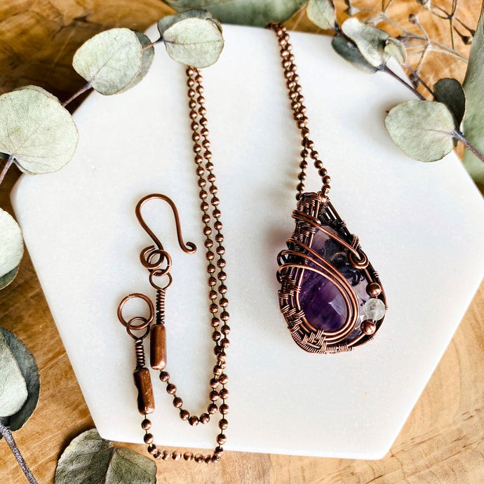 Reversible Amethyst Necklace Copper Wire Wrap Pendant Necklace Michelle Louise Inspirations