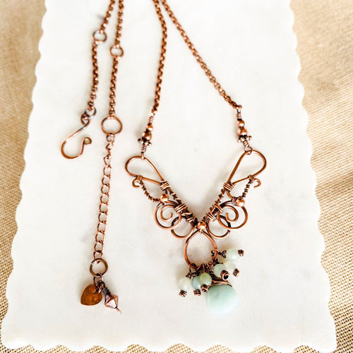 Whimsical | Amazonite copper necklace Copper Wire Wrap Pendant Necklace Michelle Louise Inspirations