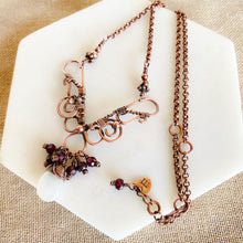 Load image into Gallery viewer, Whimsical | Garnet moonstone copper necklace Copper Wire Wrap Pendant Necklace Michelle Louise Inspirations