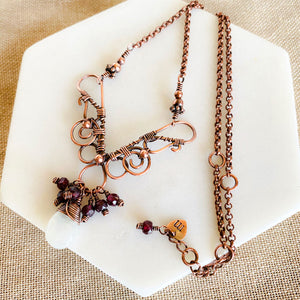 Whimsical | Garnet moonstone copper necklace Copper Wire Wrap Pendant Necklace Michelle Louise Inspirations