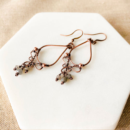 Whimsical | Labradorite Copper Hoop Earrings Copper Wire Wrapped Earrings Michelle Louise Inspirations