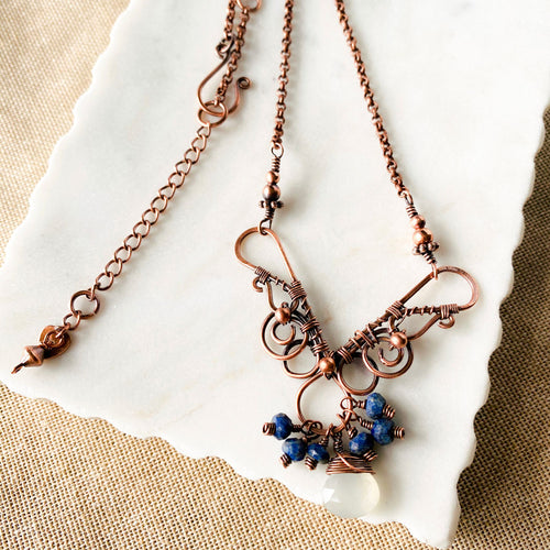 Whimsical | Lapis moonstone copper necklace Copper Wire Wrap Pendant Necklace Michelle Louise Inspirations