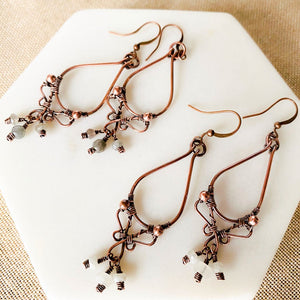 Whimsical | moonstone copper hoop earrings - Michelle Louise Inspirations