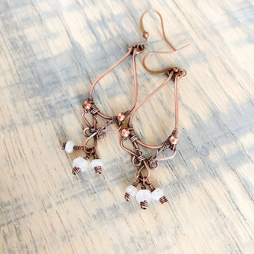 Whimsical | moonstone copper hoop earrings Copper Wire Wrapped Earring Michelle Louise Inspirations