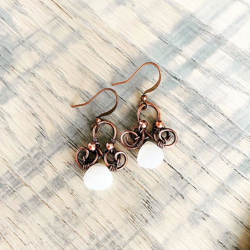 Whimsical | moonstone earrings Copper Wire Wrapped Earring Michelle Louise Inspirations