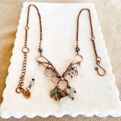 Whimsical | Labradorite Moonstone Copper Necklace Copper Wire Wrap Pendant Necklace Michelle Louise Inspirations