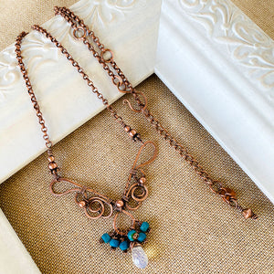 Whimsical | Turquoise Opalite Copper necklace Copper Wire Wrap Pendant Necklace Michelle Louise Inspirations
