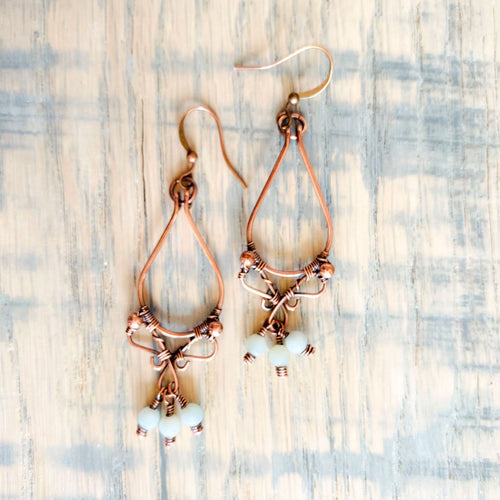 Whimsical | Amazonite copper hoop earrings Copper Wire Wrapped Earring Michelle Louise Inspirations
