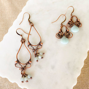 Whimsical | Amazonite Copper Earrings Copper Wire Wrapped Earring Michelle Louise Inspirations