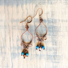 Load image into Gallery viewer, Whimsical | turquoise copper hoop earrings Copper Wire Earring Michelle Louise Inspirations